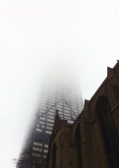 Disappearing Hancock In Fog Chicago