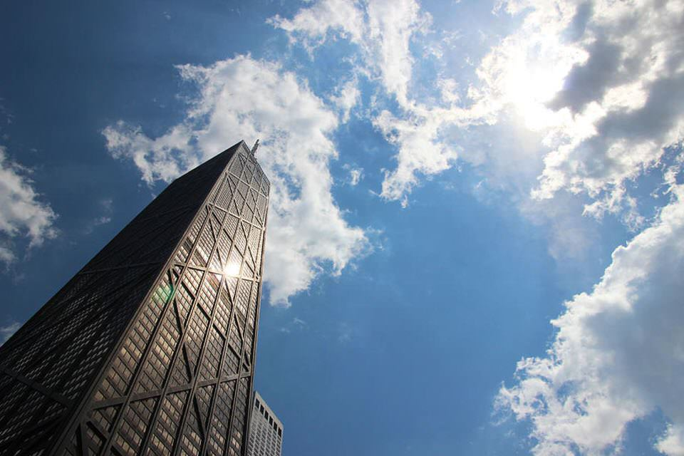 Blue Sky Hancock Tower Chicago