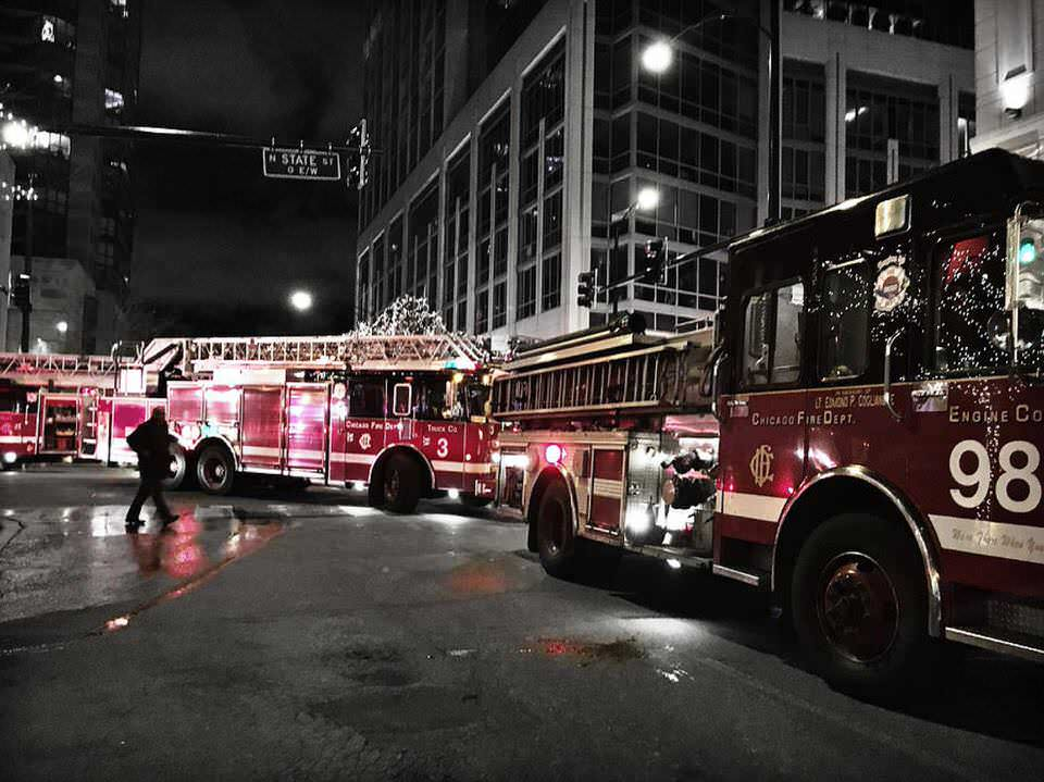 Chicago Fire Department In The Evening