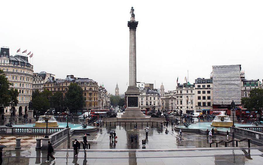 Reflections Of Trafalgar Square In London England